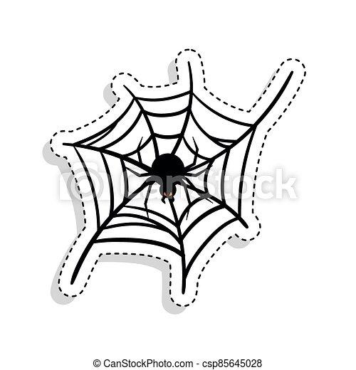 Sticker of a scary spider over a spiderweb - csp85645028