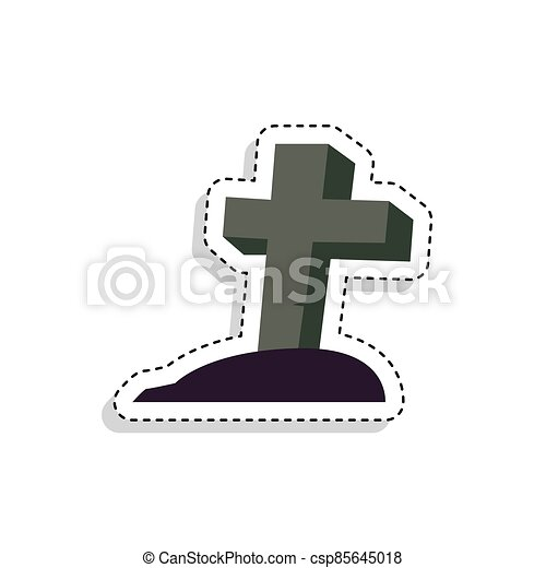 Sticker of a scary tombstone icon - csp85645018