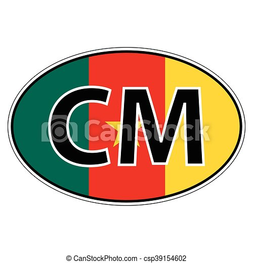Sticker on car flag republic cameroon csp39154602