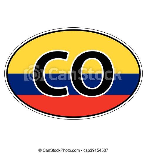 Sticker on car flag republic colombia csp39154587