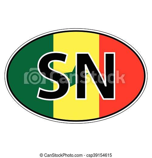 Sticker on car flag republic senegal csp39154615