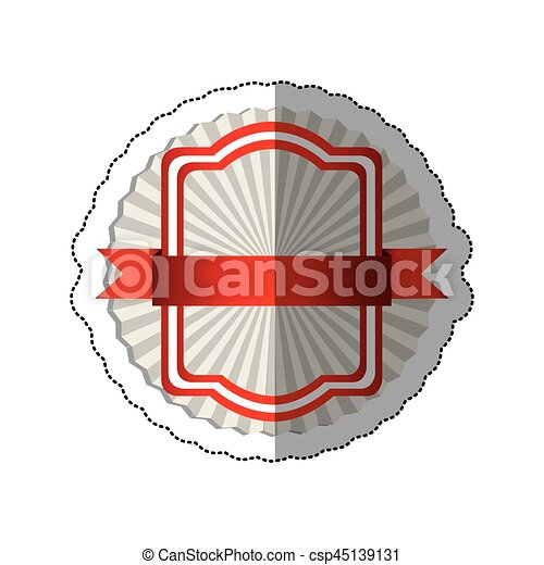 sticker radial background with red rectangle heraldic frame and ribbon - csp45139131