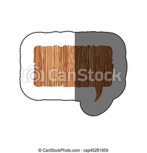 sticker realistc wooden texture rectangle dialog box - csp45281959