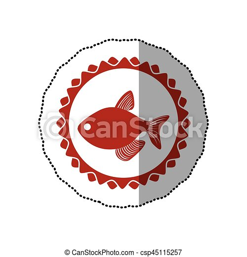 Sticker Red Circular Border Stamp With Fish