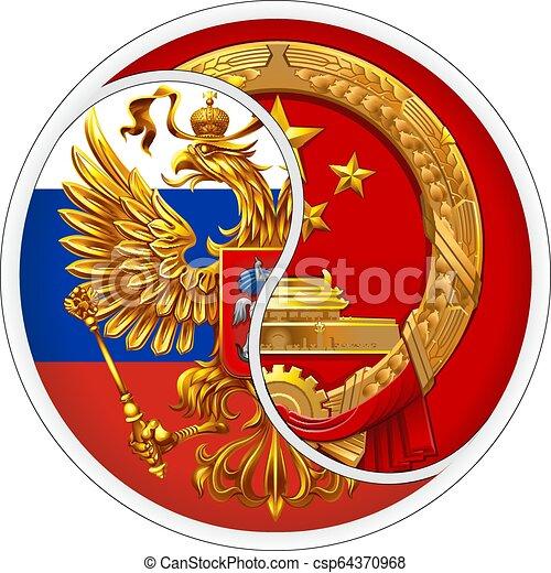 Sticker Russia and China. - csp64370968