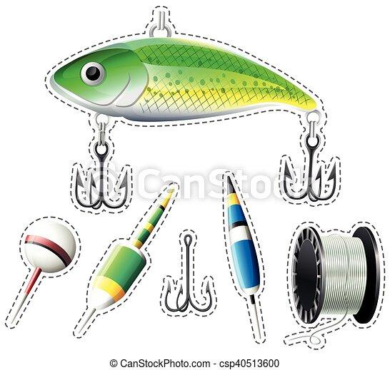 Sticker set of fishing equipment - csp40513600