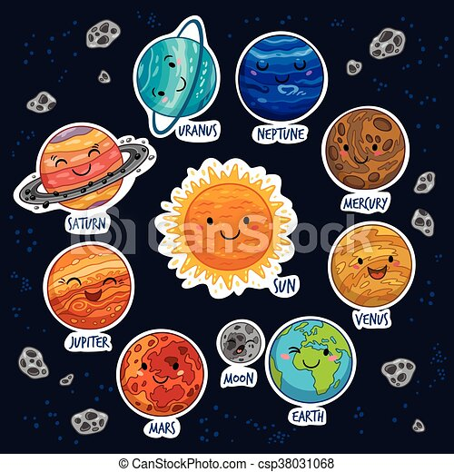 Sticker Set Of Solar System With Cartoon Planets Set Of