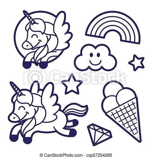 Sticker Set With Unicorn Rainbow And Ice Cream