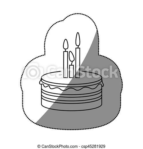 sticker silhouette birthday cake with candles - csp45281929