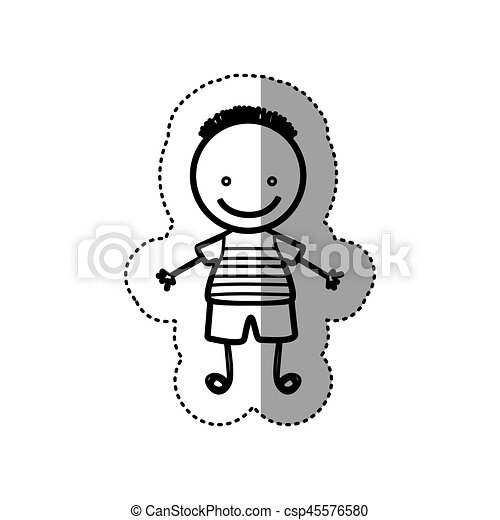 Sticker Sketch Silhouette Caricature Boy With Hairstyle Vector