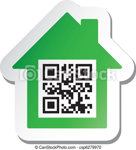 "Sticker with ""House for Sale"" data in qr code - csp6279970"