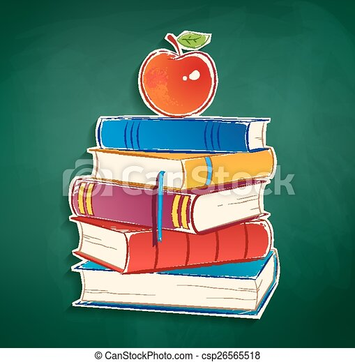 Sticker With Pile Of Books And Apple On Green Chalkboard Background Vector EPS 10 Isolated
