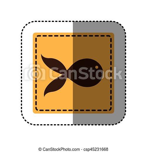 sticker yellow square with fish icon - csp45231668