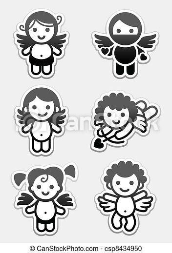 Stickers cupids. set icons, collection angels signs - csp8434950