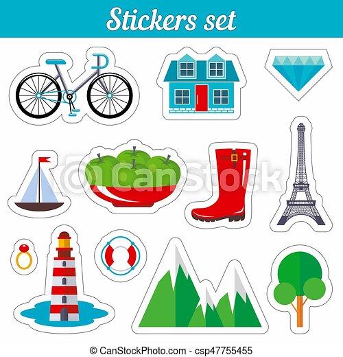 Stickers set. Cartoon patch badges. - csp47755455