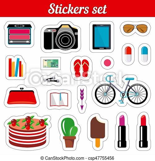 Stickers set. Cartoon patch badges. - csp47755456