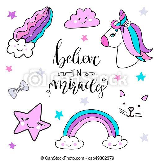 Stickers Set With Unicorn Rainbow Star Cloud Magic Cat
