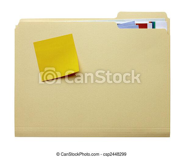 stickie, pasta, manila, em branco - csp2448299