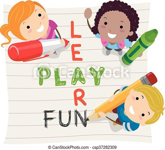 stickman, apprendre, gosses, jeu, amusement - csp37282309