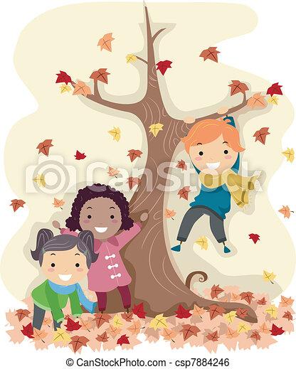 Stickman Autumn Leaves - csp7884246