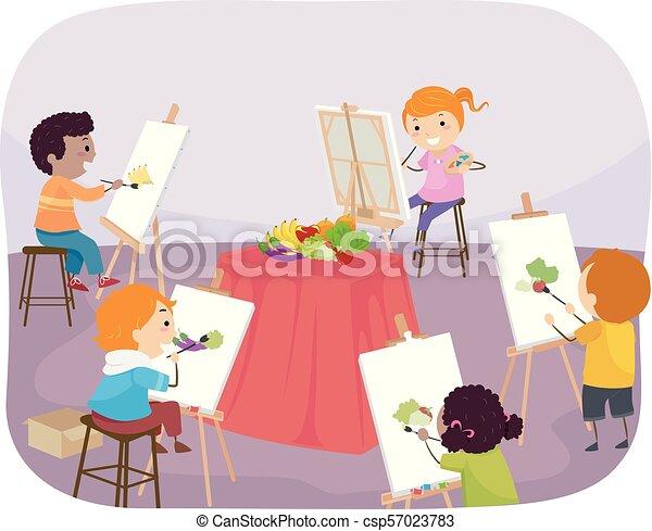 stickman, bambini, pittura, classe, illustrazione - csp57023783