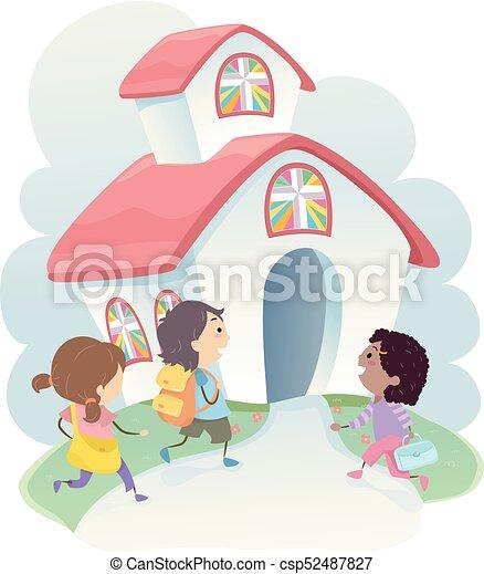 stickman, bambini scuola, cristiano, illustrazione - csp52487827