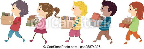 stickman, books, старый, kids - csp25874325