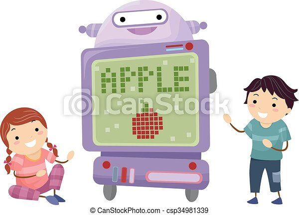 stickman, dzieciaki, technologia, robot, nauczyciel - csp34981339