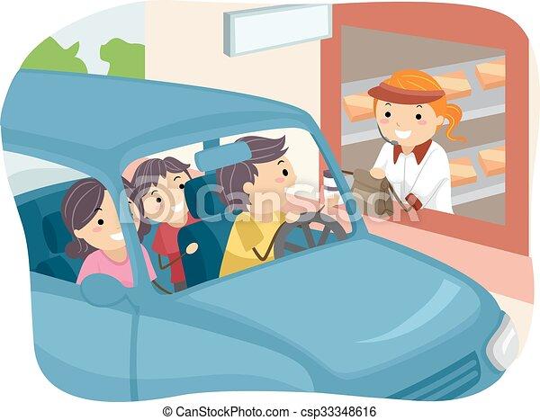 Stickman Family Buying Food at Drive Thru - csp33348616