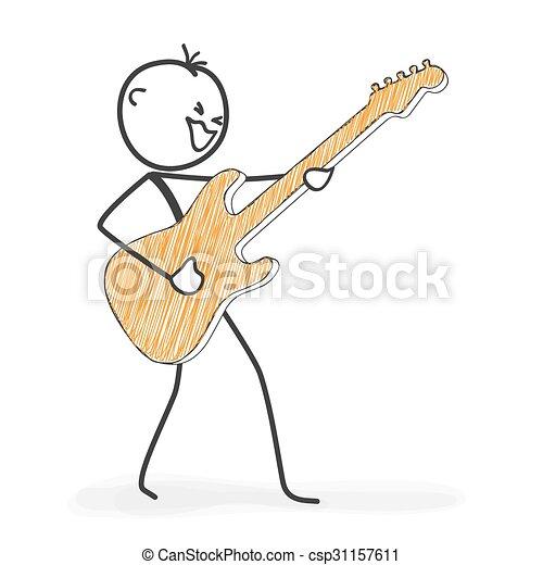 stickman, figura, -, rysunek, gitara, wtykać, icon., kołysanie, rusztowanie - csp31157611