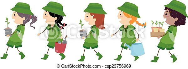 stickman girl scout tree planting illustration of girl clip art rh canstockphoto com girl scout clipart black and white girl scout clip art graphics