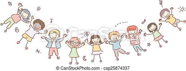 stickman, gosses, bannière, heureux - csp25874337