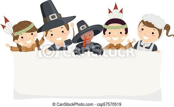 stickman, gosses, bannière, pèlerin, thanksgiving - csp57570519