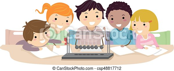 stickman, gosses, physique, pendule, illustration - csp48817712