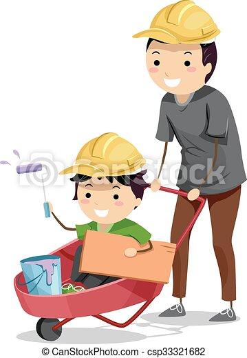 Stickman Kid Boy Dad Construction Wheelbarrow