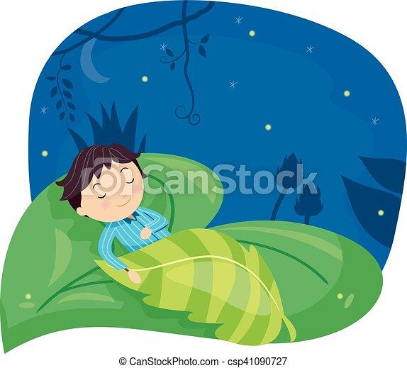 Stickman Kid Boy Sleeping Leaf - csp41090727