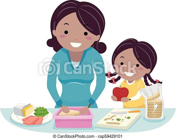 Stickman Kid Girl Mom Healthy Snack Illustration
