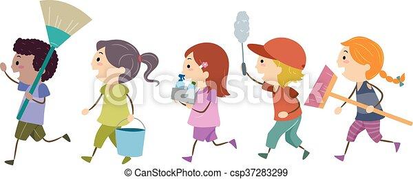 stickman, kids, инструменты, вверх, чистый - csp37283299