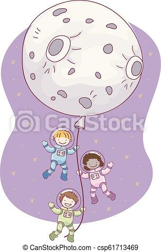 Stickman Kids Astronaut Moon Balloon Illustration - csp61713469