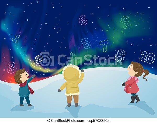 Stickman Kids Aurora Borealis Numbers - csp57023802