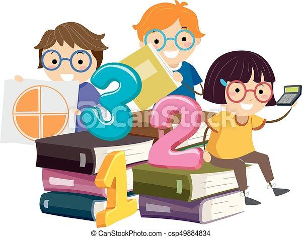 Stickman Kids Book Stack Math Illustration - csp49884834