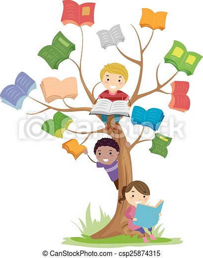 Stickman Kids Book Tree Read - csp25874315