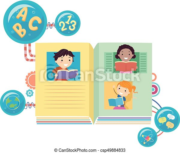 Stickman Kids Books Reading Illustration - csp49884833