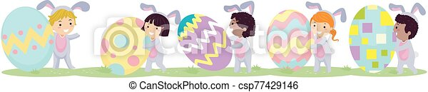 Stickman Kids Bunny Easter Eggs Walk Border - csp77429146