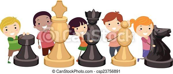 Stickman Kids Chess Game - csp23756891
