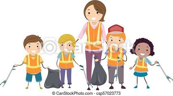 Stickman Kids Cleaning Road Illustration - csp57023773