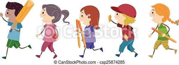 Stickman Kids Cricket - csp25874285
