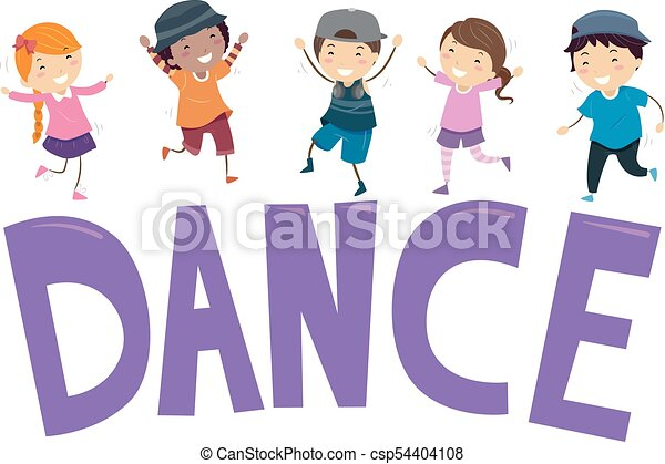 Stickman Kids Dance Illustration Stickman Illustration Featuring Young Kids Dancing On Top Of A Block Of Letters That Spell