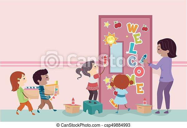 stickman kids decorate classroom door illustration csp49884993
