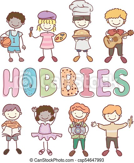 Stickman Kids Different Hobbies Illustration Illustration Of Stickman Kids With Different Hobbies From Basketball Painting